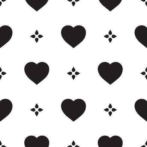 Monokromt sömlöst mönster med hjärtan vektor