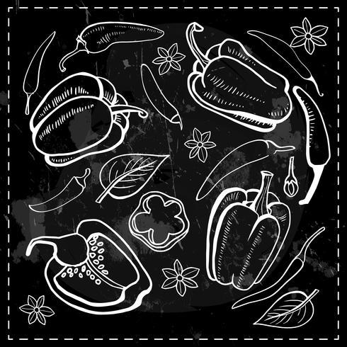 chili, chili, peppar grönsaker vektor