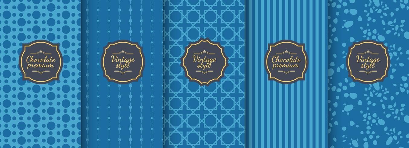 Set med blå vintage sömlösa bakgrunder för lyxförpackning design. vektor