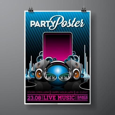 Party Flyer Illustration för musikaliskt tema vektor