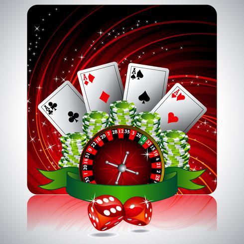 spelillustration med kasinoelement och band vektor