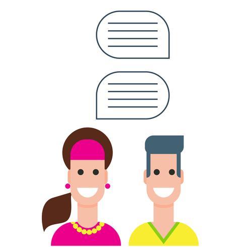 människor ikoner med färgglada dialogbords talbubblor vektor