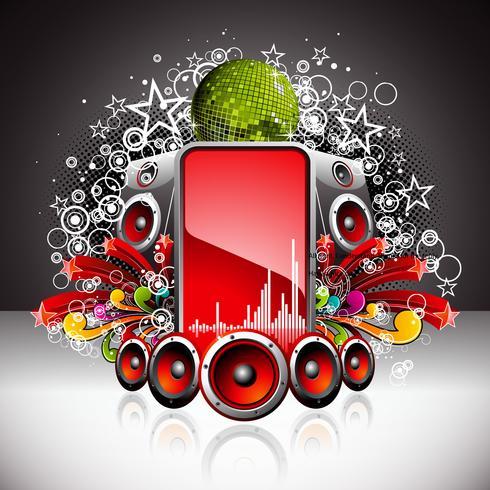 vektor illustration för ett musikaliskt tema med högtalare och diskoboll