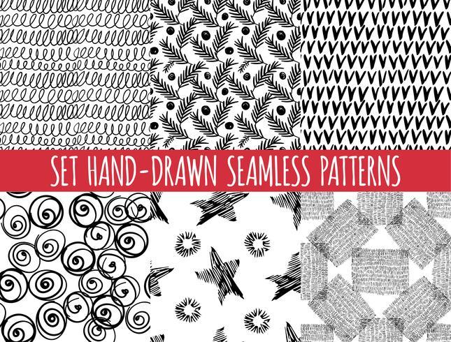 Sats med fyra sömlösa abstrakta handritade mönster, vektor