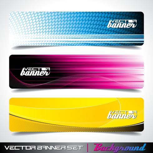 Tre abstrakt vektor banner bakgrund