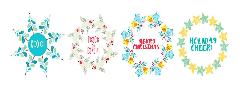 Weihnachtskranz Pine Branches, Sterne verziert. vektor