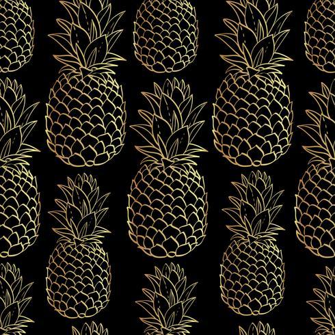Exotisches nahtloses Muster mit Ananas der tropischen Frucht der Silhouetten. vektor
