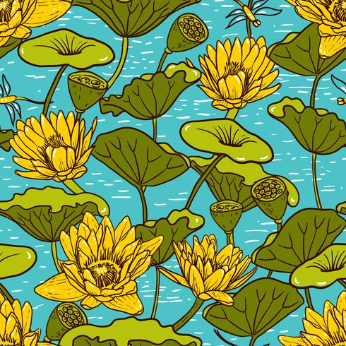 Elegante gelbe Seerosen, nahtloses Blumenmuster der Nymphaea vektor