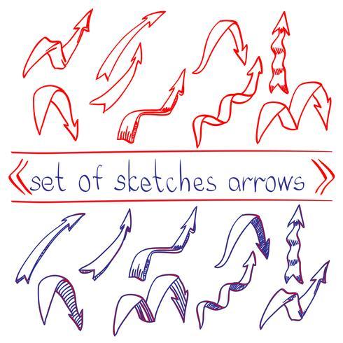 Röd och blå penna skiss pil vektor