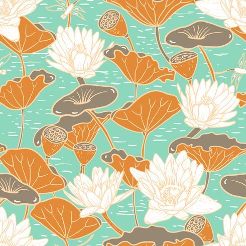 Elegante Seerosen, nahtloses Blumenmuster der Nymphaea vektor