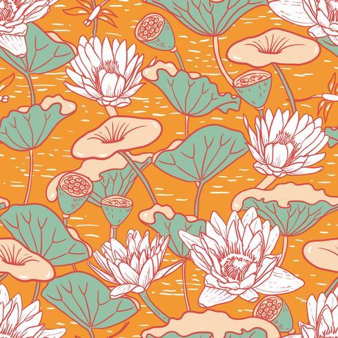 Eleganta Vattenliljor, Nymphaea sömlösa blommönster vektor
