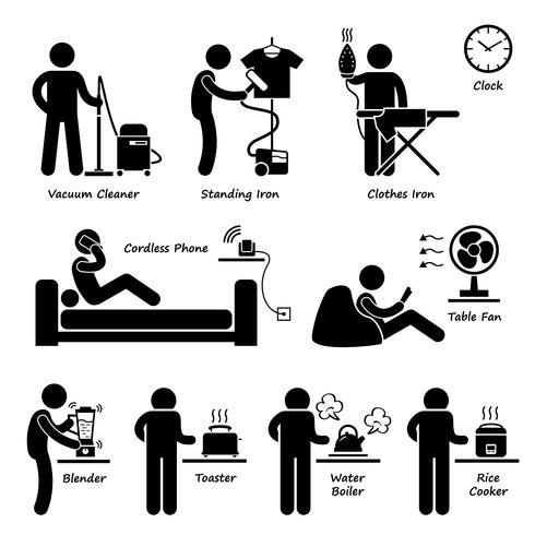 Haus elektronische Haushaltsgeräte Werkzeuge und Ausrüstungen Strichmännchen Piktogramm Symbol Cliparts. vektor