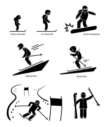 Skidåkare Skidåkning Människor Åldersgruppsuppdelning Stick Figur Pictogram Ikon vektor
