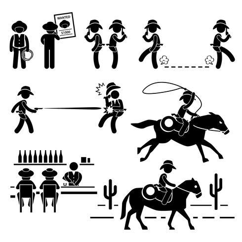 Cowboy Wild West Duel Bar Pferd Strichmännchen Piktogramm Symbol. vektor