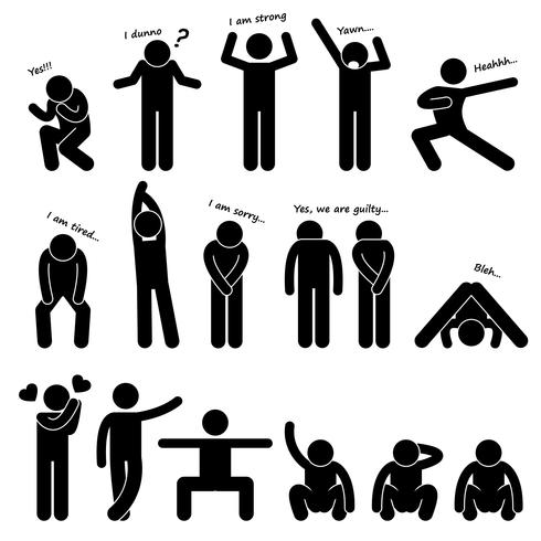 Man Person Basic Body Language Posture Stick Figur Pictogram Ikon. vektor