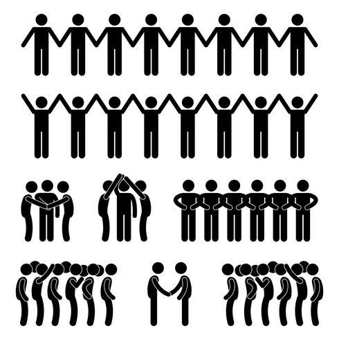Man United Unity Community Holding Hand-Strichmännchen-Piktogramm-Symbol. vektor