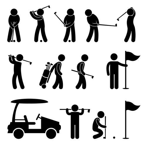 Golf Golfspieler Swing Caddy Caddy Piktogramm. vektor