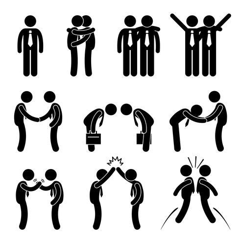 Business Manner Hälsningar Gesture Stick Figure Pictogram Icon. vektor
