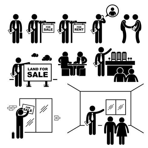 Fastighetsmäklare Fastighetsklient Klientpinne Figur Pictogram Ikon. vektor