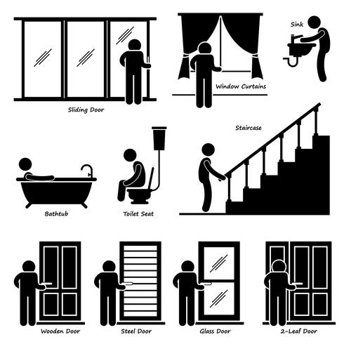 Hausbefestigungen für Innenräume Strichmännchen Piktogramm Symbol Cliparts. vektor