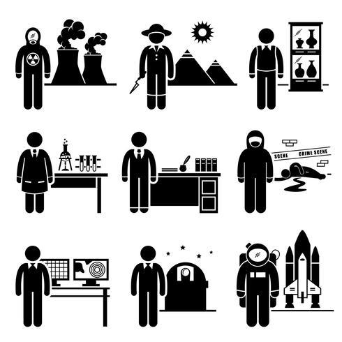 Wissenschaftler Professor Jobs Berufe Karriere vektor