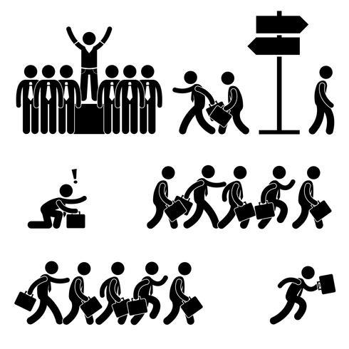 Stehen aus der Masse heraus Erfolgreiche Business Competition Karriere Strichmännchen Piktogramm Symbol. vektor