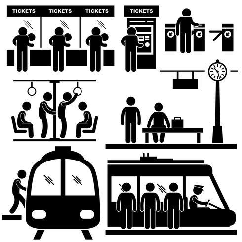 Train Commuter Station Subway Man Passagiere Strichmännchen Piktogramm Symbol vektor