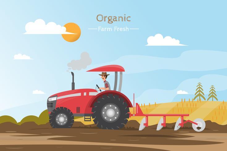 Landwirtschaftliche Arbeit auf einem Feld mit Traktor. vektor