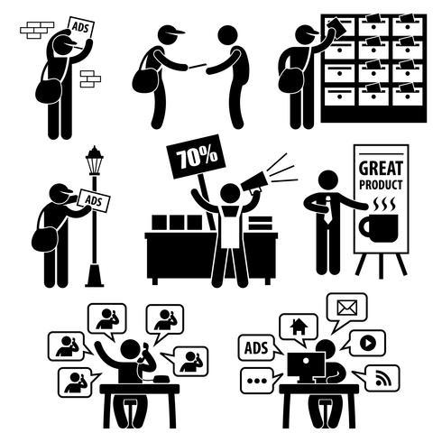 Reklam Marketing Strategy Distribuera Banner Broschyr Promotion Säljare Telemarketing Email Internet Stick Figur Pictogram Ikon. vektor