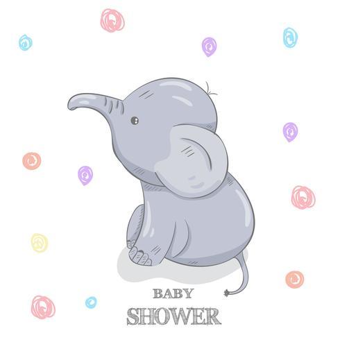 Gullig baby elefant handritad vektor