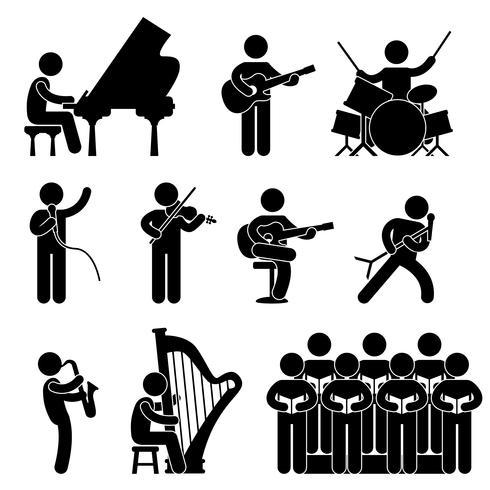 Musiker Pianist Gitarrist Chor Schlagzeuger Sänger Konzert. vektor