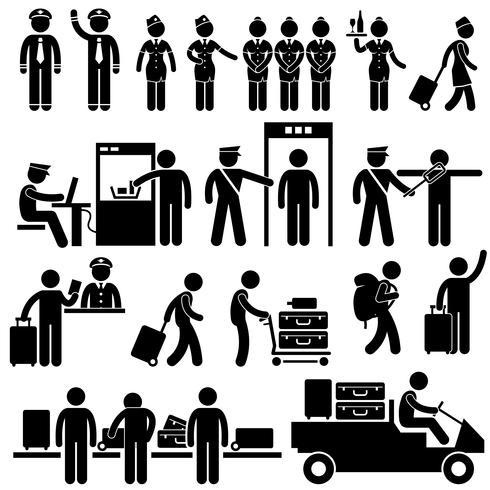 Flughafenarbeiter und Sicherheitspiktogramme. vektor