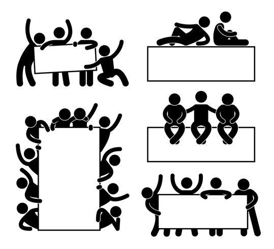 Vän Community Teammate Holding Visar Tom Blank Banner Icon Symbol. vektor