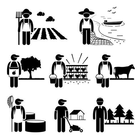 Landwirtschaft Plantagen Landwirtschaft Geflügel Fischerei Berufe Karriere vektor