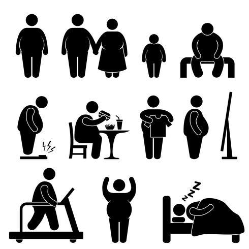 Fettes Mann-Frauen-Kinderkinderpaar-Korpulenz-Übergewicht-Ikonen-Symbol-Zeichen-Piktogramm. vektor