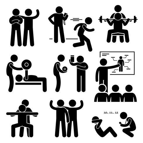 Persönlicher Gymnastik-Trainer Trainer Instructor Exercise Workout-Strichmännchen-Piktogramm-Ikonen. vektor