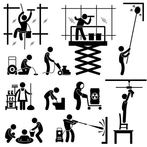 Industriell rengöring Tjänster Risky Cleaner Jobb Arbetande Pinne Figur Pictogram Ikon. vektor