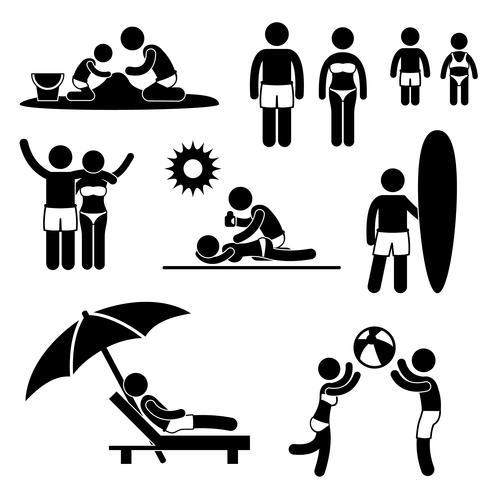 Familj Sommar Strand Semester Semester Ikon Symbol Sign Pictogram. vektor