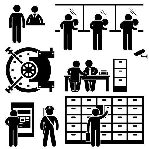 Bank Business Finance Worker Staff Agent Consultant Kundensicherheit Strichmännchen Piktogramm Symbol vektor