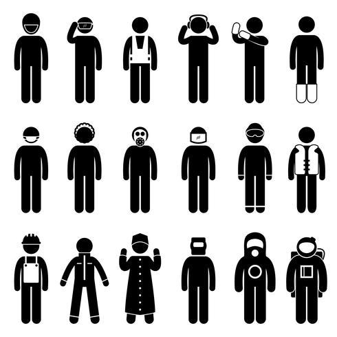 Arbetstagarkonstruktion Korrekt skyddsdräkt Uniform Wear Cloth Ikon Symbol Sign Pictogram. vektor