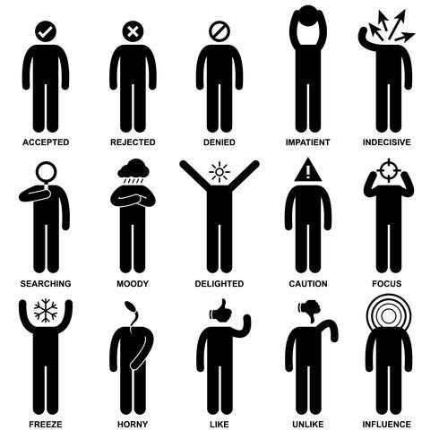 Mann-Gefühl-Gefühl-Ausdruck-Haltung-Strichmännchen-Piktogramm-Ikone. vektor