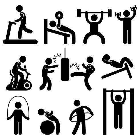 Mann-athletisches Turnhallen-Gymnasium-Körper-Übungs-Trainings-Piktogramm. vektor
