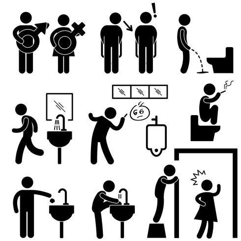 Lustiges öffentliches Toiletten-Konzept-Symbol-Symbol-Zeichen-Piktogramm. vektor