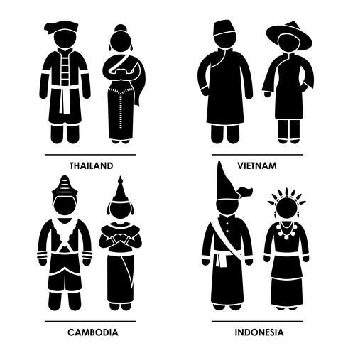 Sydostasien traditionella kostymkläder. vektor