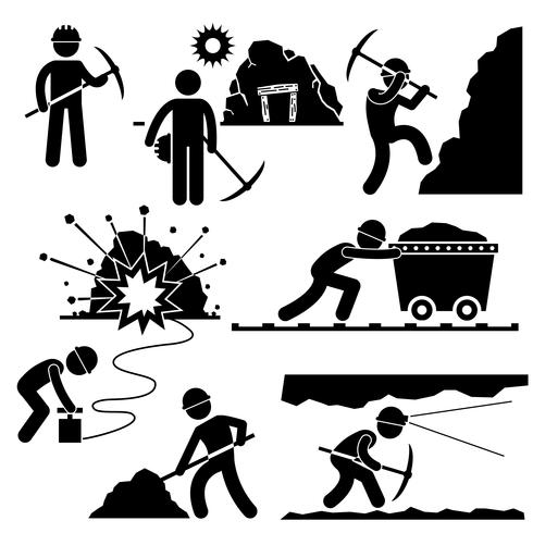 Mining Worker Miner Arbetsstång Figur Pictogram Ikon. vektor