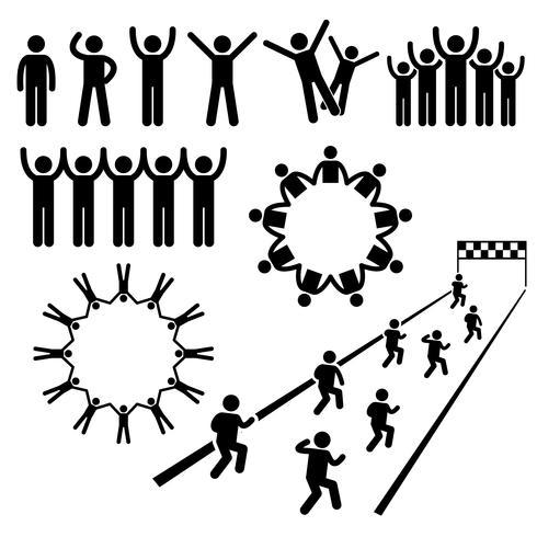 Människor Community Welfare Stick Figur Pictogram Ikoner. vektor