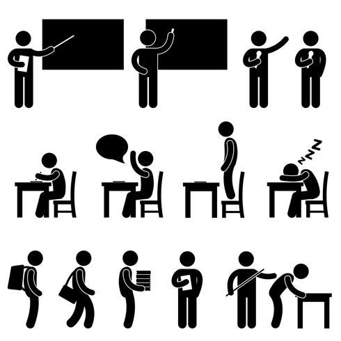 Schullehrer Student Klassenzimmer Symbol. vektor