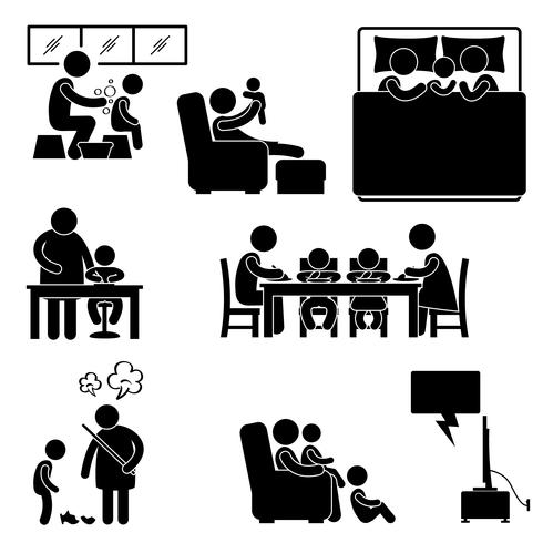 Familj Aktivitet Hus Hem Badning Sovande Undervisning Äta Titta Tv Tillsammans Ikon Symbol Tecken Pictogram. vektor