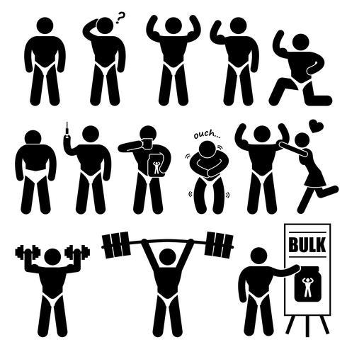 Body Builder Bodybuilder Muscle Man Workout Fitness Steroid Stick Figur Pictogram Ikon. vektor