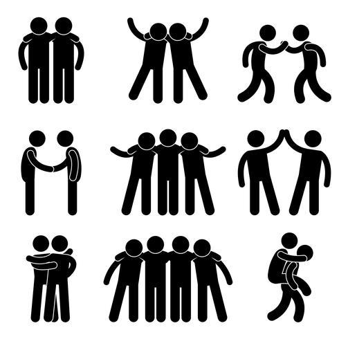 Freund-Freundschafts-Verhältnis-Mannschaftskamerad-Teamwork-Gesellschaftsikonen-Zeichen-Symbol. vektor